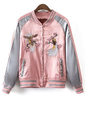 Glossy Embroidered Souvenir Jacket - Pink