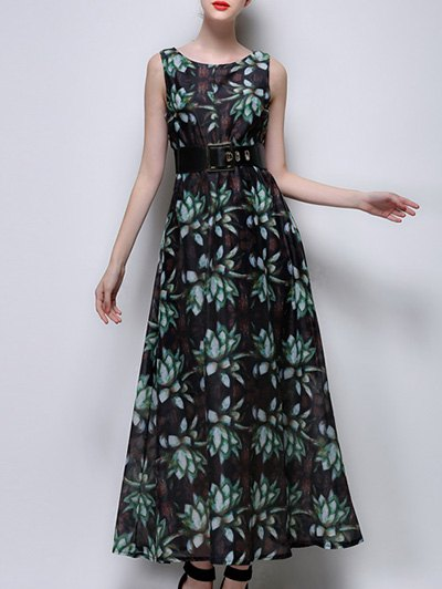 Sleeveless Full Floral Print Chiffon Dress