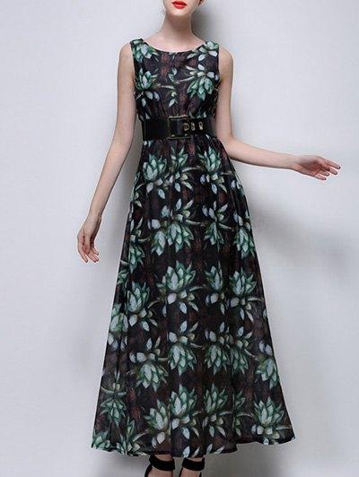 Sleeveless Full Floral Print Chiffon Dress