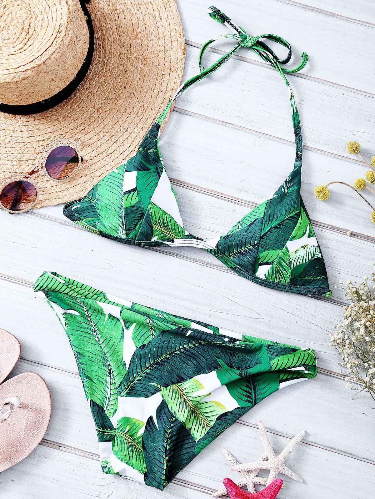 Leaf Printed Halter Bikini Set