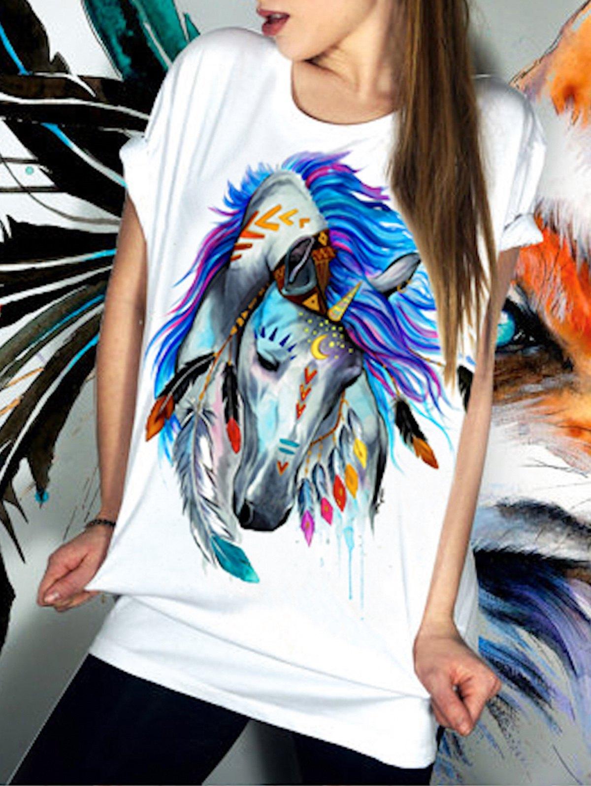 Casual Short Sleeve Round Neck Horse Pattern Women's T-Shirt - WHITE XL