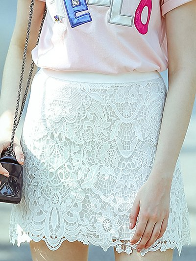 High Waist A-Line Solid Color Lace Cut Out Skirt