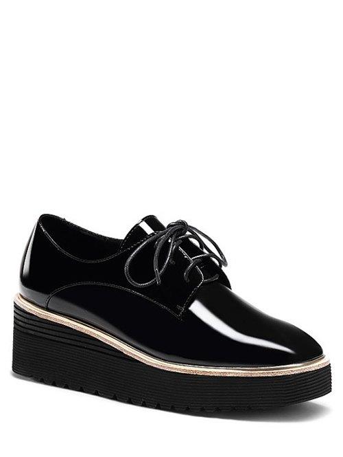 Buy Patent Leather Square Toe Platform Shoes BLACK 38