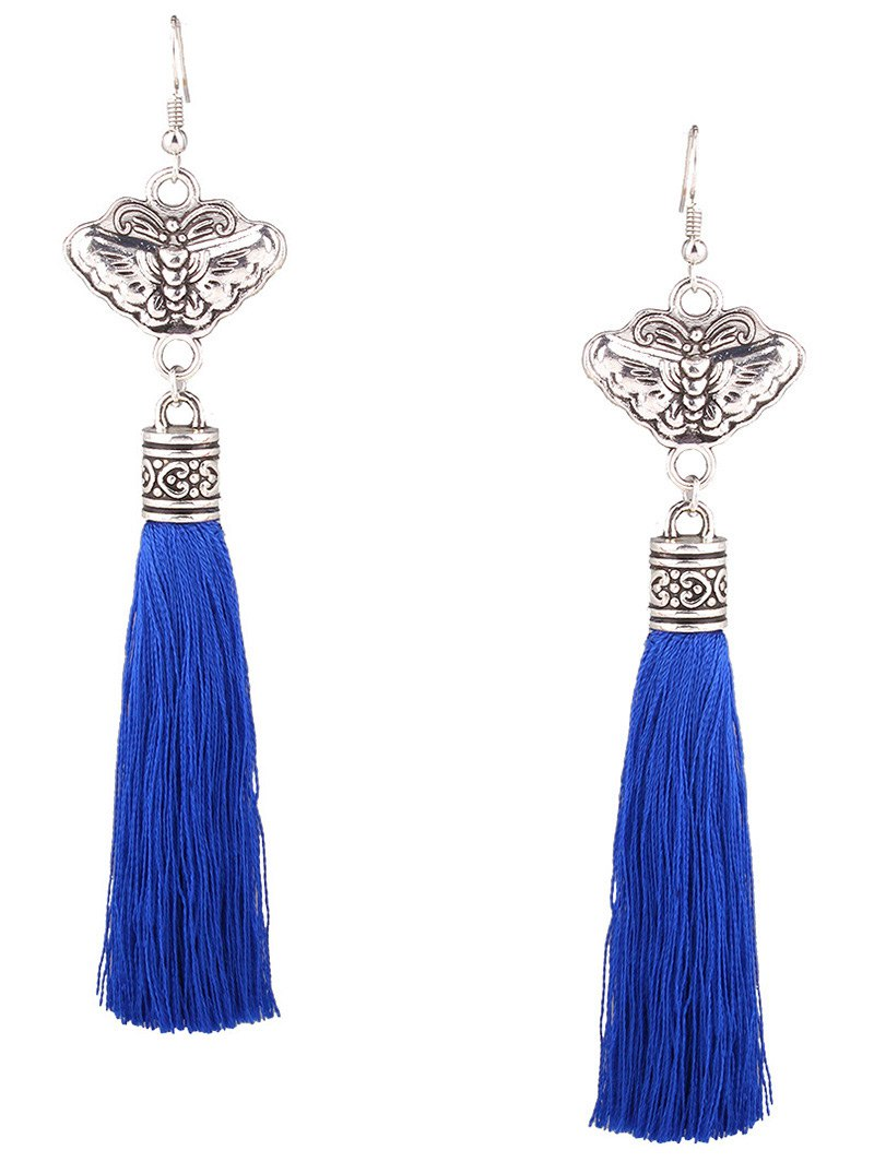 Engraving Butterfly Fringe Earrings