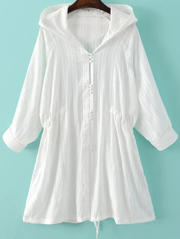 Waisted Hooded Long Sleeve Thin Coat 188079501