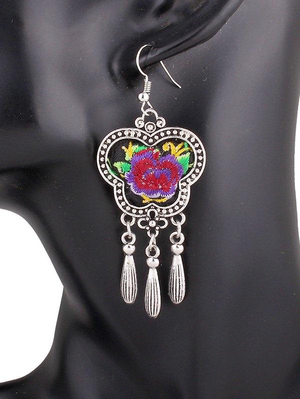 Flower Embroidery Fringe Earrings