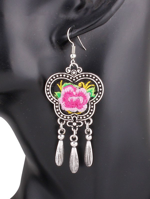 Flower Embroidery Fringe Earrings