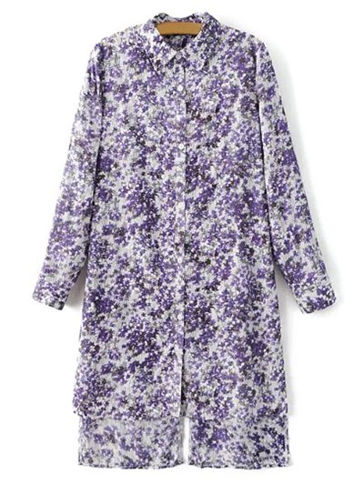 Long Sleeve Tiny Floral Print High Low Hem Shirt Dress