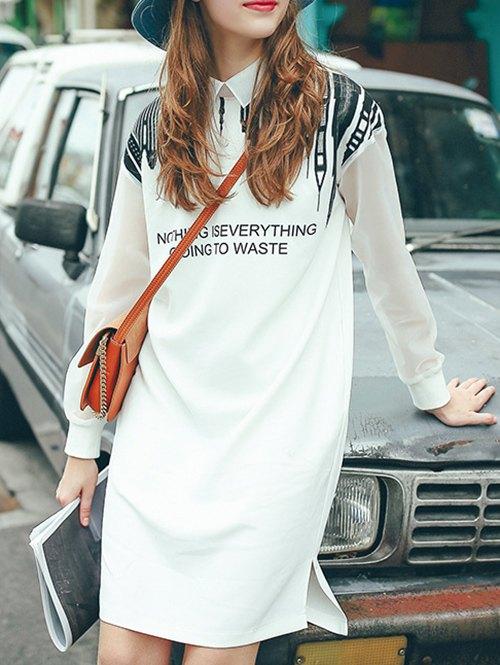 Printed Voile Spliced Shirt Collar Long Sleeve Dress 188093501