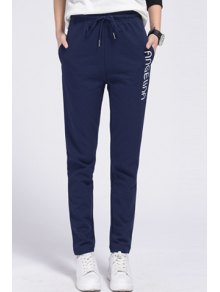 Side Letter Graphic Running Pants - Sapphire Blue