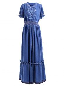 Denim Bohemian V Neck Short Sleeve Maxi Dress - Blue L