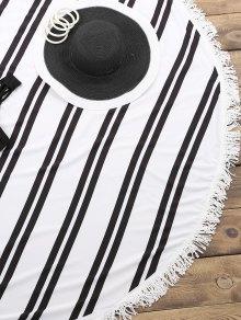 Striped Round Beach Throw - WHITE/BLACK ONE SIZE(FIT SIZE XS TO M)