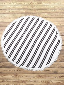 Striped Round Beach Throw - White And Black