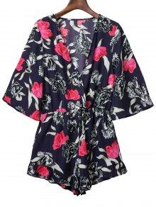 Plunge Kimono Floral Romper