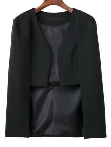 Solid Color Cape Blazer - Black
