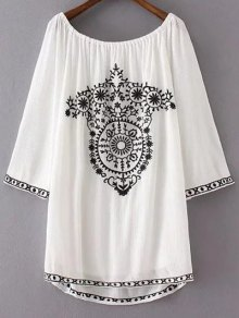Long Sleeve Embroidery Vintage Mini Dress - White