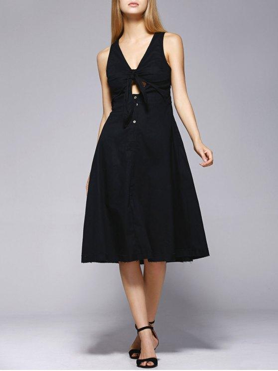Vestido a media pierna con nudos - Negro L