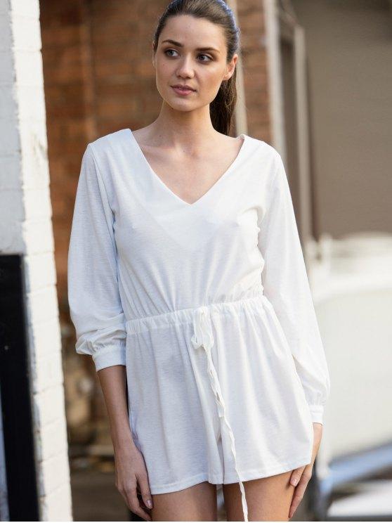 Long Sleeve Drawstring Design White Romper - WHITE L Mobile