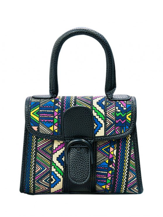 Splicing Buckle Geometric Print Tote Bag - BLACK  Mobile