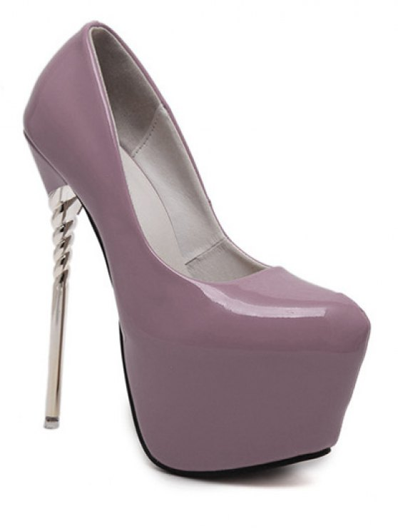 Patent Leather Super High Heel Pumps - PURPLE 39 Mobile