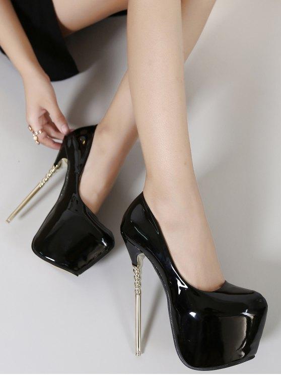 Patent Leather Super High Heel Pumps - BLACK 38 Mobile