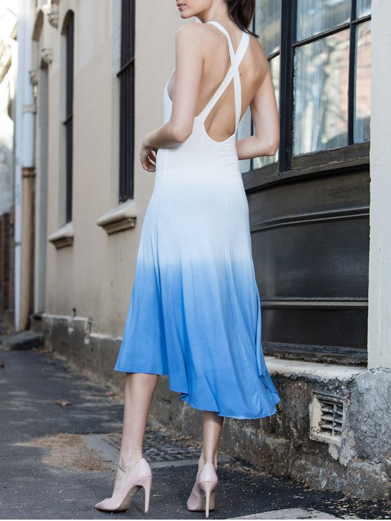 latest Blue Ombre Color Sleeveless Plunging Neck Sundress - BLUE S