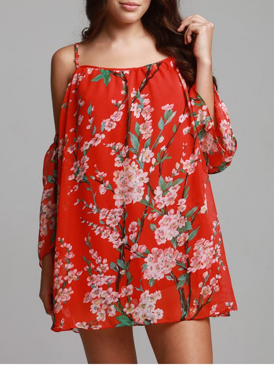 Floral Print Chiffon Cami Cold Shoulder Dress - RED S Mobile