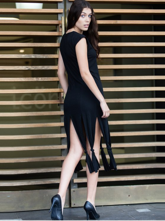 Short Sleeve Black Slit Dress - BLACK M Mobile