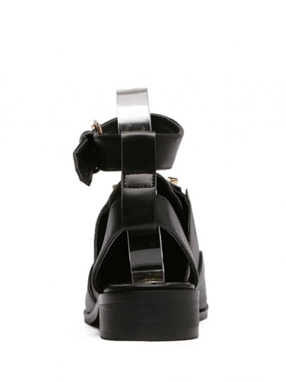 Ankle Strap Metal Cut Out Flat Shoes - BLACK 39 Mobile