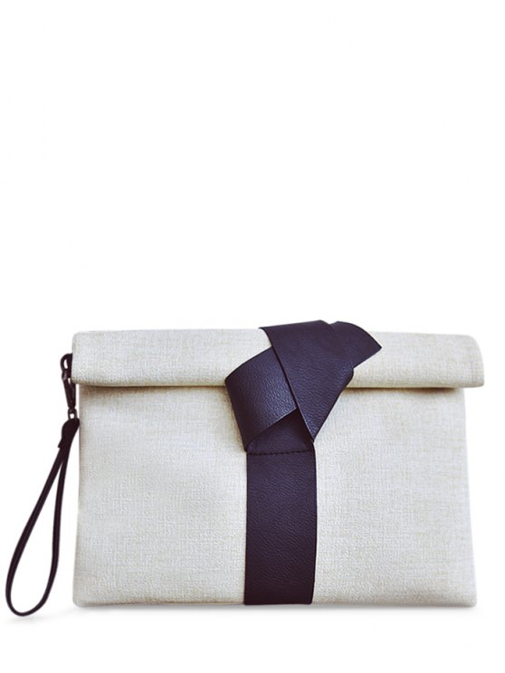 new Colour Block PU Leather Clutch Bag - OFF-WHITE