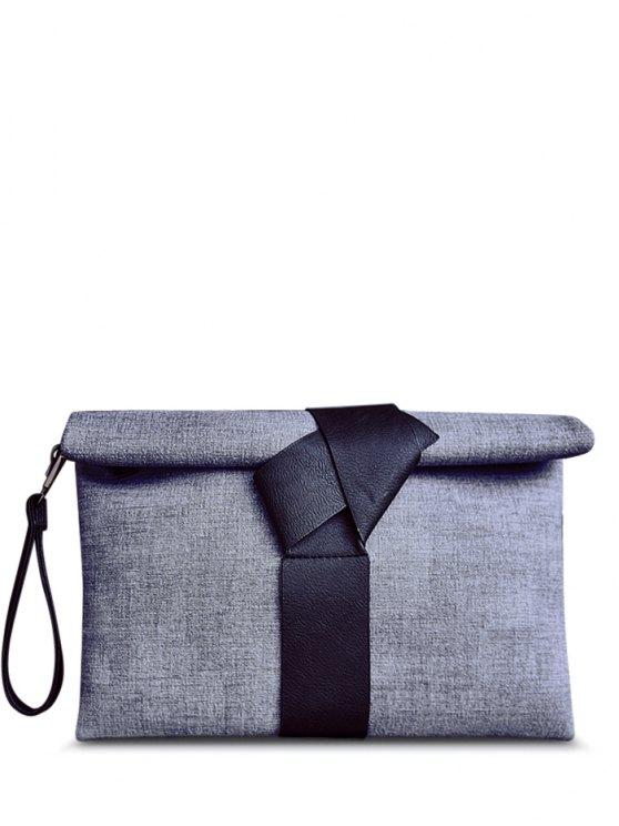 outfit Colour Block PU Leather Clutch Bag - BLACK