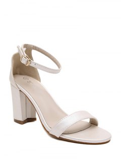 Chunky Heel Ankle Strap Sandals - Off-white 38
