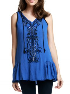Retro Embroidery Plunging Neck Tank Top - Blue L