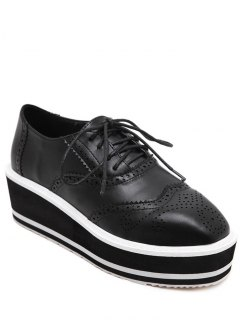 Engraving Black Color Lace-Up Platform Shoes - Black 38