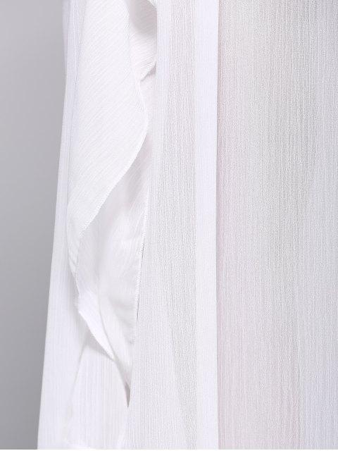 latest Ruffles See-Through Dress - WHITE L Mobile