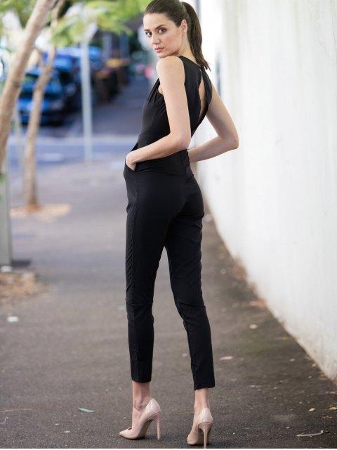 shop Scoop Neck Black Backless Sleeveless Jumpsuit - BLACK S Mobile