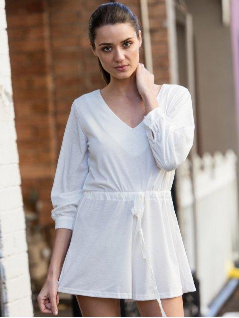 affordable Long Sleeve Drawstring Design White Romper - WHITE L Mobile