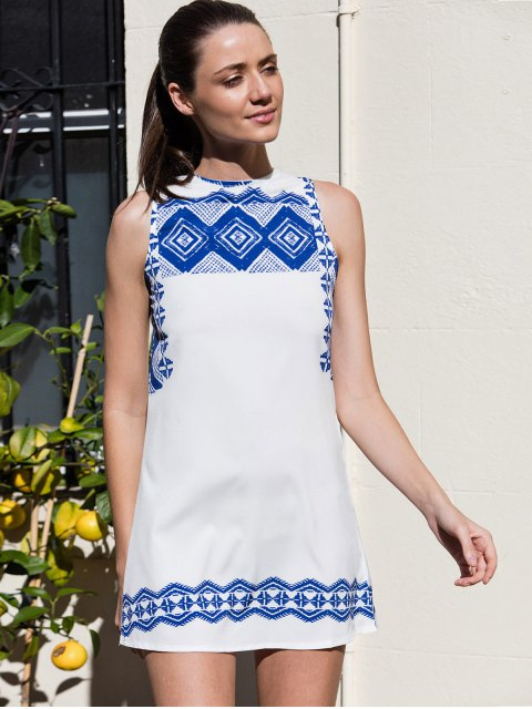 fashion Vestido Printed Round Collar Sleeveless Straight Dress - WHITE L Mobile