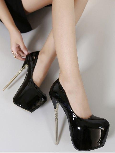 hot Patent Leather Super High Heel Pumps - BLACK 38 Mobile