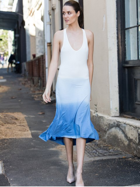 shop Blue Ombre Color Sleeveless Plunging Neck Sundress - BLUE L Mobile