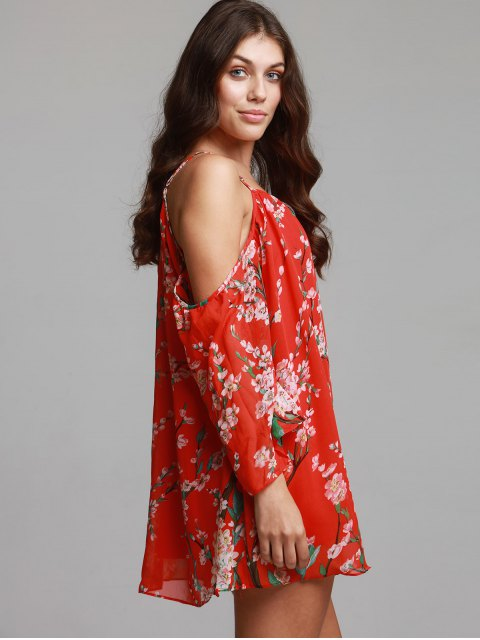 ladies Floral Print Chiffon Cami Cold Shoulder Dress - RED S Mobile