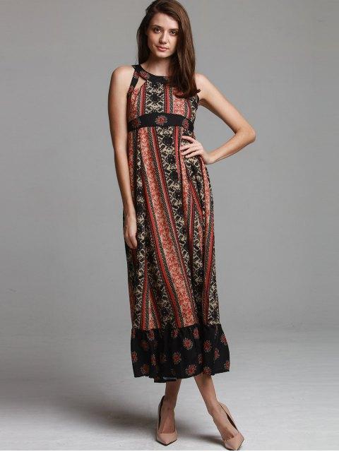 hot Ethnic Print Sleeveless Scoop Neck Maxi Dress - BLACK M Mobile