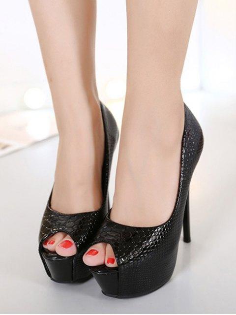 unique Embossing Stiletto Heel Peep Toe Shoes - BLACK 38 Mobile