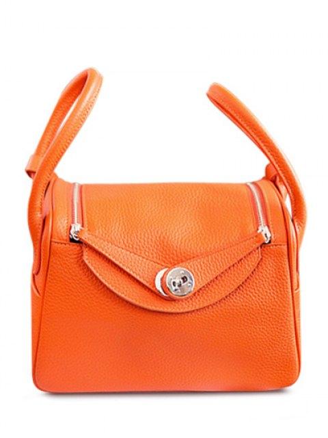 Double cuir Zips PU Sac fourre-tout - Orange  Mobile