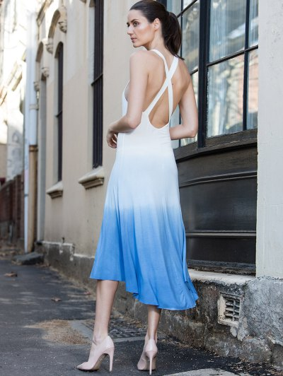 Blue Ombre Color Sleeveless Plunging Neck Sundress от Zaful.com INT