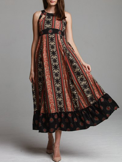 Ethnic Print Sleeveless Scoop Neck Maxi Dress - Black