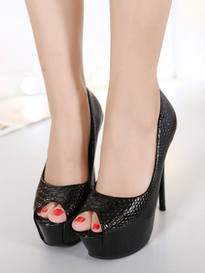 Embossing Stiletto Heel Peep Toe Shoes - BLACK 38 Mobile