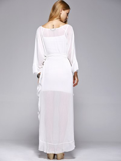 Ruffles See-Through Dress - WHITE L Mobile