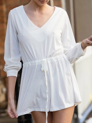 Long Sleeve Drawstring Design White Romper - White