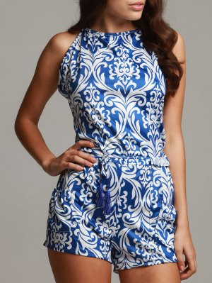 Vintage Print Spaghetti Strap Playsuit - Blue And White